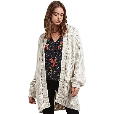 00d23267d69740 Volcom Junior's Knitstix Oversized Chunky Cardigan Sweater, Oatmeal, Medium/ Large