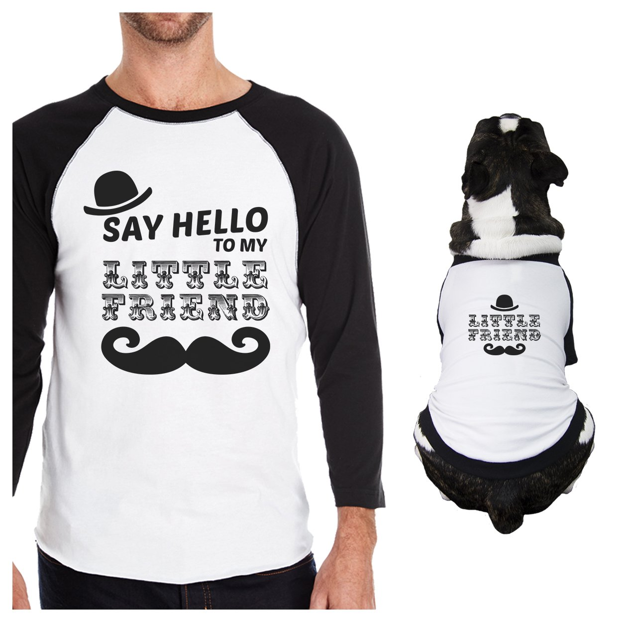 365 Printing Little Friend Mustache Funny Dog Baseball Shirt for Pet Owner Gifts