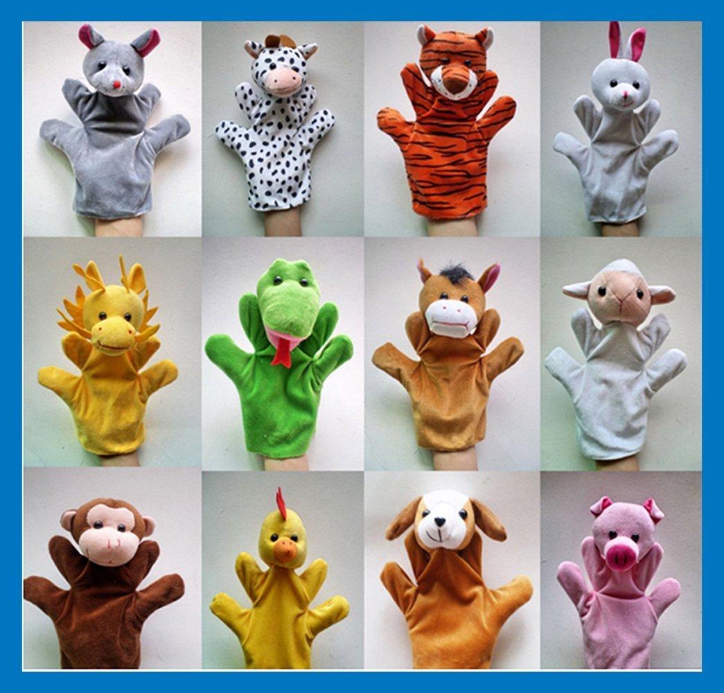 Careshine 1 Puppets à Main pour les enfants Marionnettes à la main en peluche pour les marionnettes à main en dessin animé - Lapin, Canard, Cochon