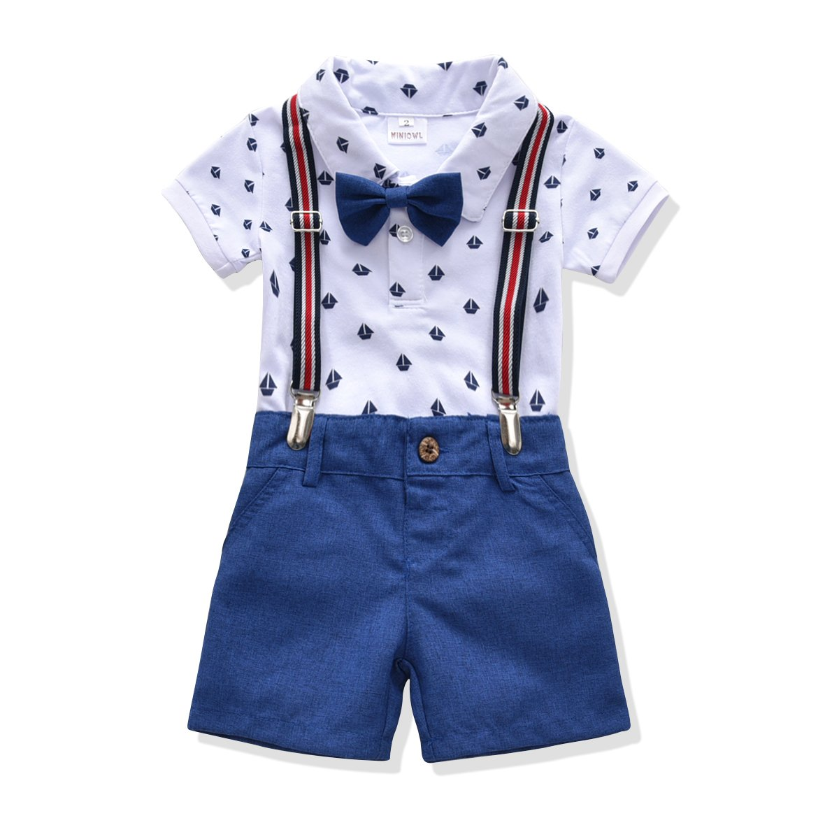 Toddler Boys Clothing Set Gentleman Outfit Bowtie Polo Shirt Bid Shorts Overalls (4T, White/Blue)