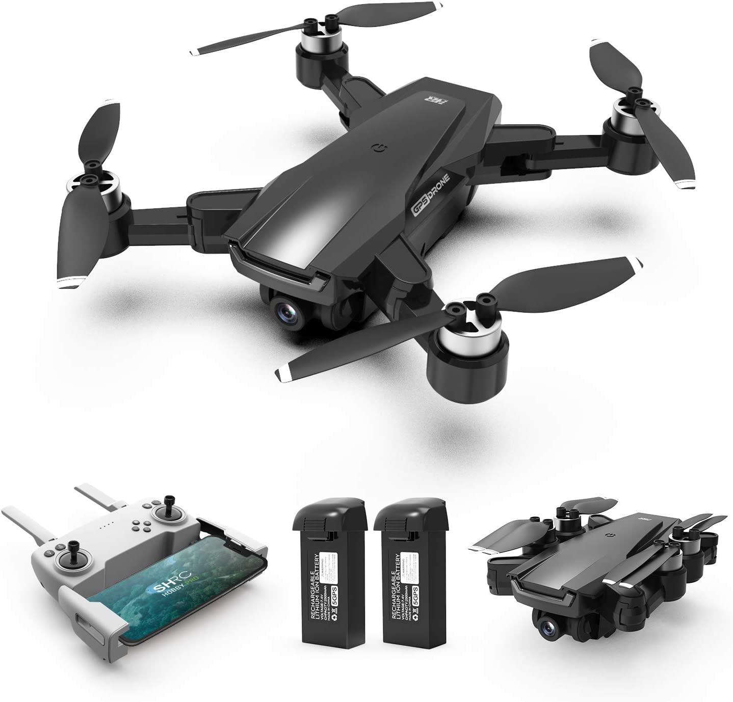 Drone with Brushless Motor for Adults and Beginners,Foldable Drones with 4K FHD Camera Live Video and GPS Return Home,Quadcopter with Altitude Hold,Follow Me,Includes Carrying Bag