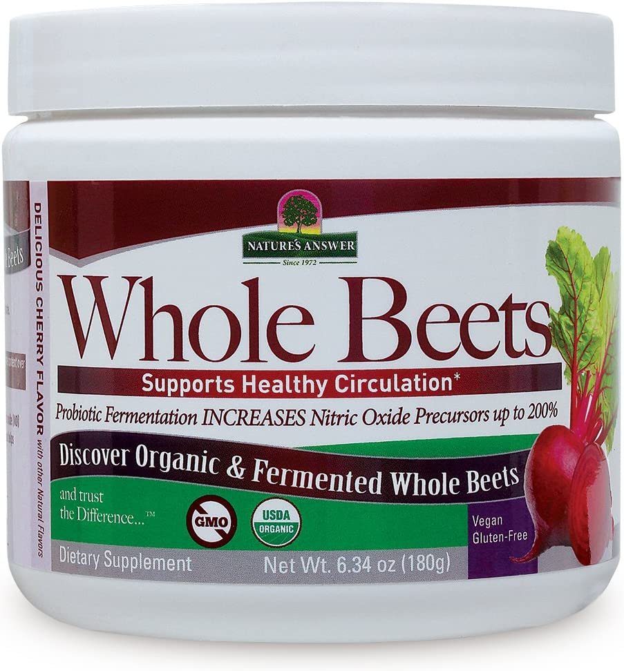 Nature's Answer Whole Beet Root Powder | Organic & Fermented | Great Tasting Cherry Flavor | Supports Circulatory Health & Endurance | Helps Maintain Blood Pressure Levels | Dietary Supplement 6.34oz