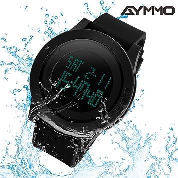 Reloj digital deportivo y resistente al agua, de Aymimo, con diseño grande y militar y retroiluminación LED: Amazon.es: Deportes y aire libre