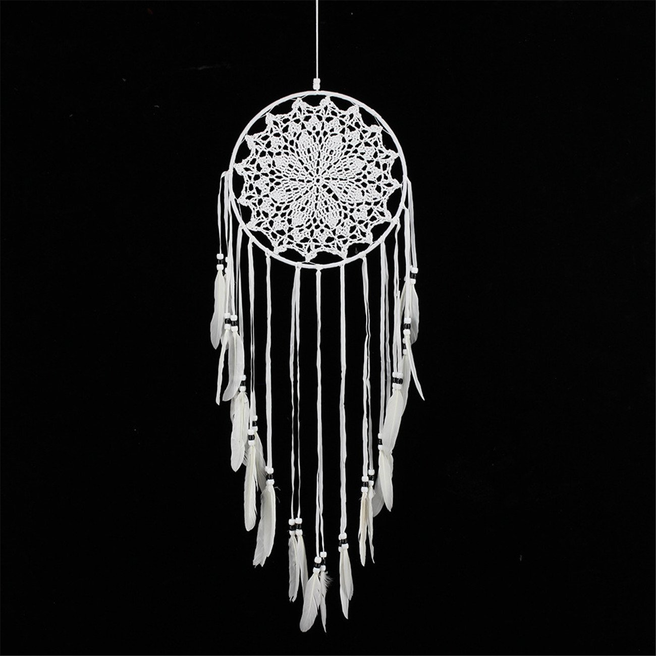 NOOS White Dream Catcher Handmade Weaving Feather Wall Hanging Car Hanging Home Decoration Crafts Gifts