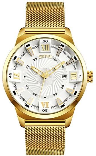 Moda hombres de oro de cuarzo relojes lujo negocios reloj impermeable de acero inoxidable relojes de pulsera: skmei: Amazon.es: Relojes