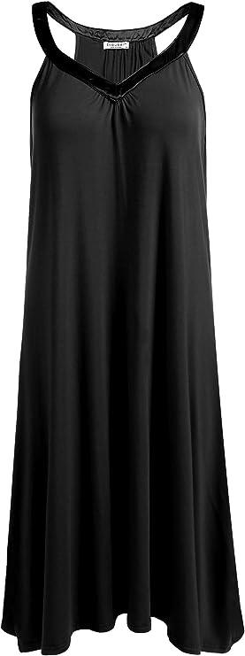 Ekouaer Nightgown Womens Sleeveless Sleepwear V Neck Racerback Sleep Dress