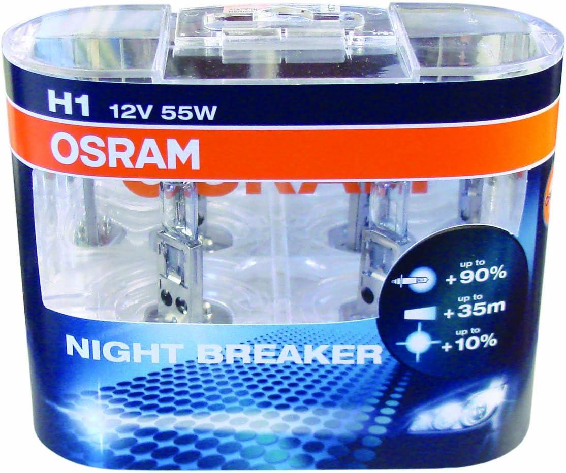 2x OSRAM Glühlampe H1 NIGHT BREAKER LASER 12V 55W P14,5s next Generation 150/%