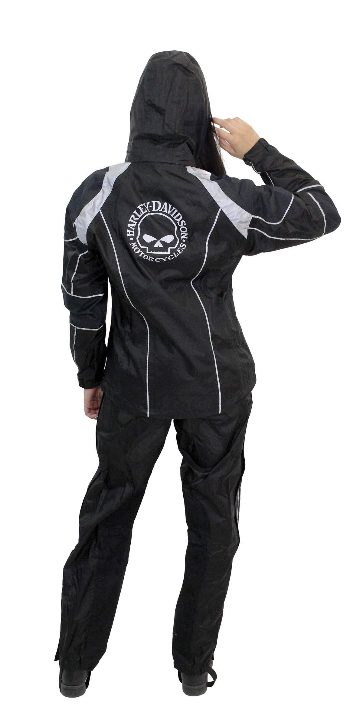 Harley-Davidson Womens Willie G Skull Reflective Waterproof Black Rain Suit 98363-15VW (Medium)