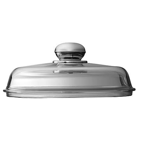 Silit 5324306101 - Tapa de cristal con pomo metálico para sartenes y fuentes de servir (