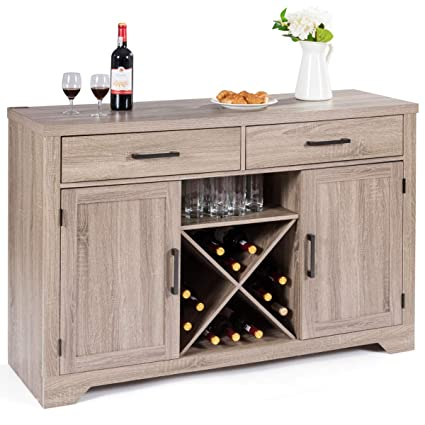 Delicieux Giantex Buffet Cabinet Sideboard With Two Drawers Two Cabinets One Shelf  And 4 Bottle Wine Rack