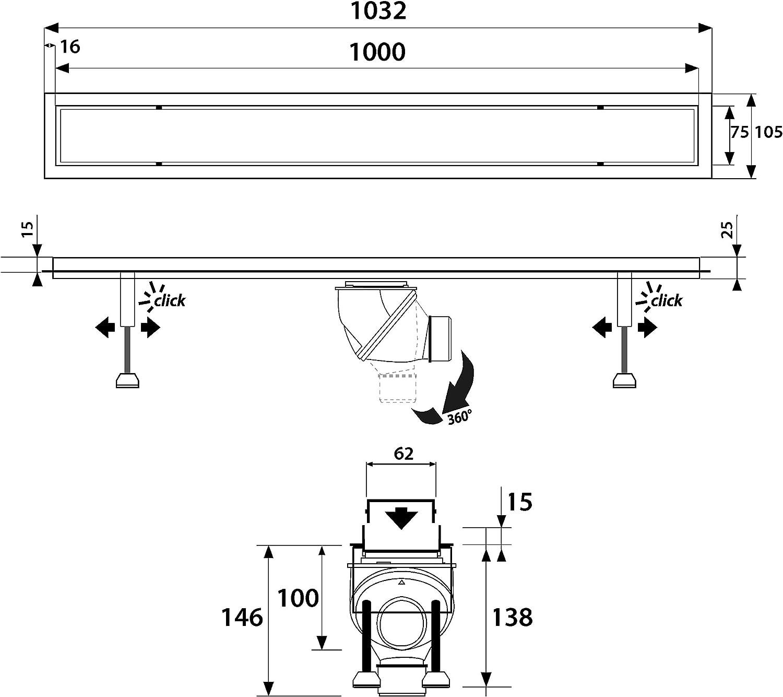Longueur : 100 cm NORDONA/® Complete Basic HG avec filtre-cheveux Caniveau de douche en acier inox poli miroir Y compris : grille /« classique/» poli miroir syst/ème de vidage Wirquin 360/°