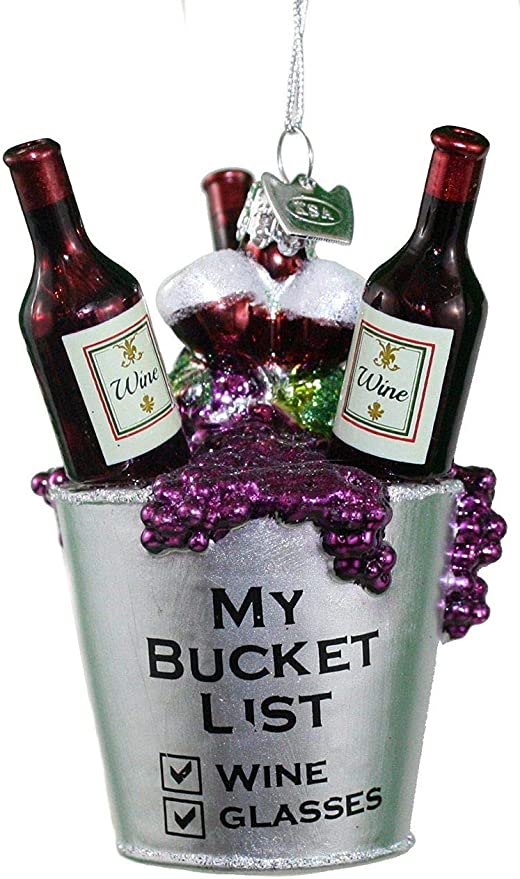 ADLER I/'M A WINE LOVER ACRYLIC RED GRAPE WINE BOTTLE CHRISTMAS ORNAMENT KURT S