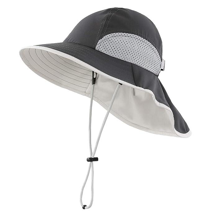 3e0b80add641f Connectyle Kids Summer Wide Brim UPF 50+ Mesh Sun Hats with Neck Flap UV Sun