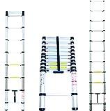 Domino Aluminium Teleskopleiter 3,2m klappbar Soft-Close Multifunktionsleiter Aluleiter 320cm Klappleiter 150 kg belastbar Sprossenleiter Mehrzweckleiter Haushaltsleiter ausziehbar
