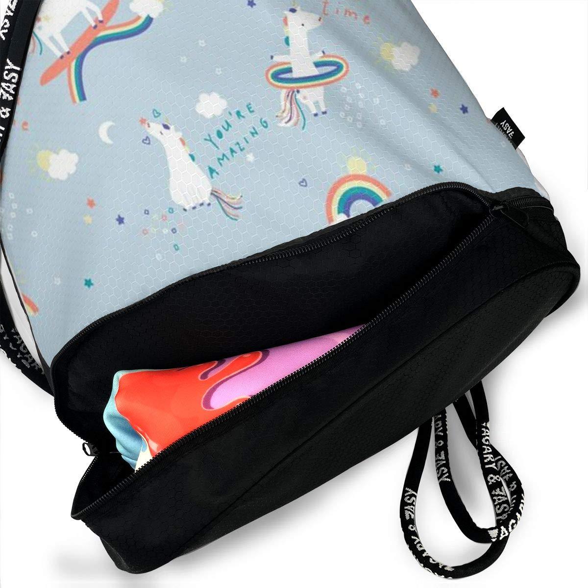HUOPR5Q Unicorn Surf The Rainbow Drawstring Backpack Sport Gym Sack Shoulder Bulk Bag Dance Bag for School Travel