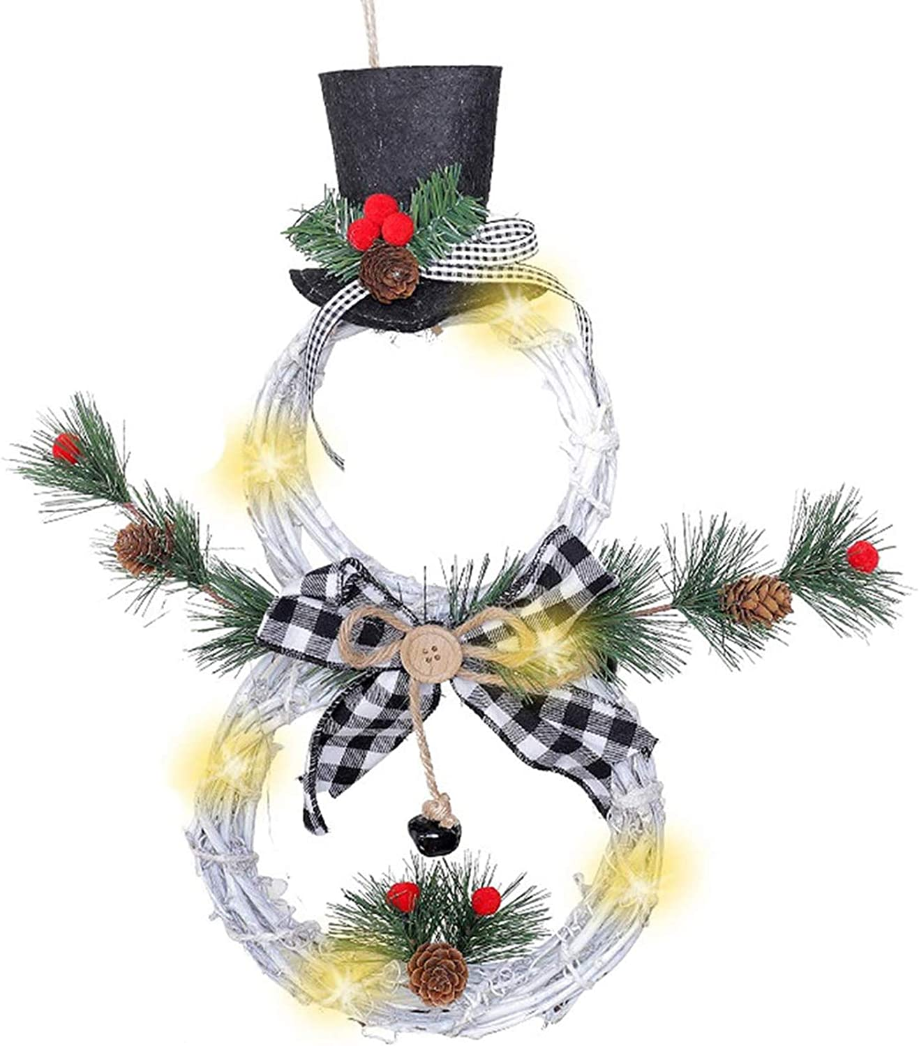 N/J Christmas Wreath Decoration - Lighted Ornament Home Decoration Garland Pendant with Beautiful Bow, Snowman Shape Wreath for Front Door Home Wall Decor (White)