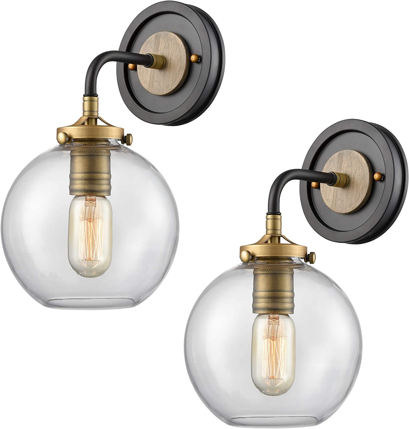 WILDSOUL 40041AB-2 Modern Farmhouse 1-Light Globe Sconce, Armed Brass Bathroom Sconces Clear Glass Vanity Wall Lighting Fixtures, Oak Wood and Brass Parts, Matte Black and Brass Finish, Pack of 2