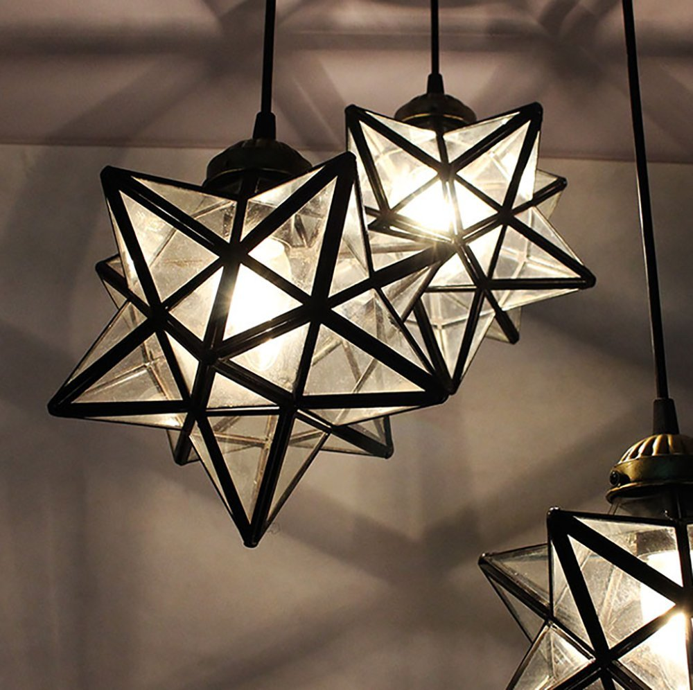 Haixiang 3 lights round base moravian star chandelier lighting iron haixiang 3 lights round base moravian star chandelier lighting iron art pendant lamp transparent glass arubaitofo Gallery
