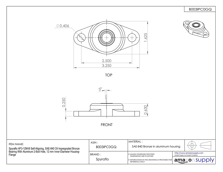 Amazon.com: spyraflo HF3 – 12 M-B self-aligning, sae-840 ...