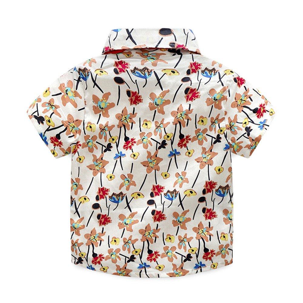 Moyikiss Studio Boys Casual Clothing Sets Short Sleeve Button-Down Shirt Ripped Pants