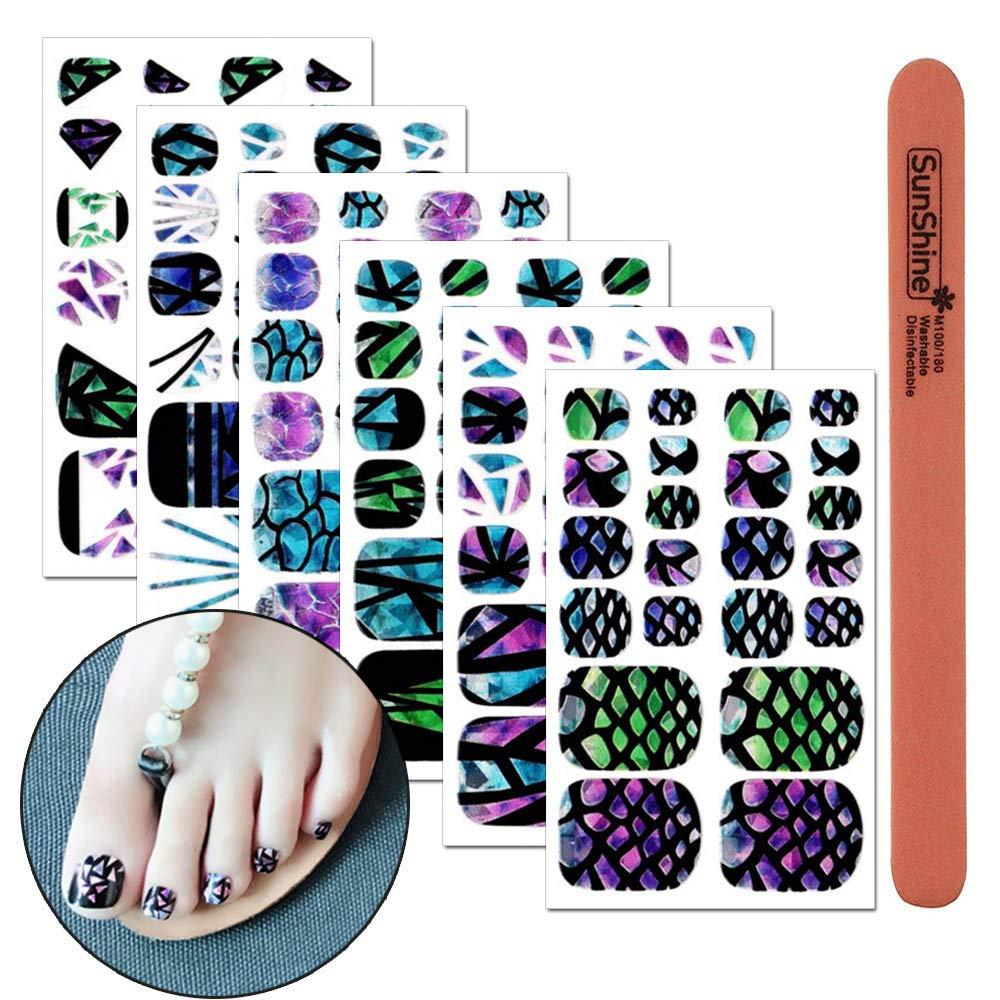 Amazon.com: WOKOTO 6 Pieces Laser Full Nail Self-Adhesive ...