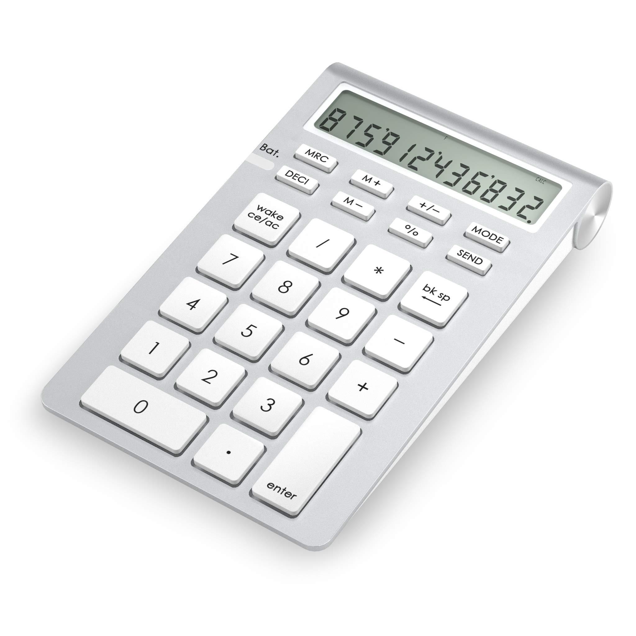 Cateck Wireless Bluetooth Numeric Smart Keypad with Calculator for iMac, MacBooks, PCs, Bluetooth Numeric keypad for Laptop, Wireless 10 Key Number pad for mac, Ten Key MacBook pro Calculator