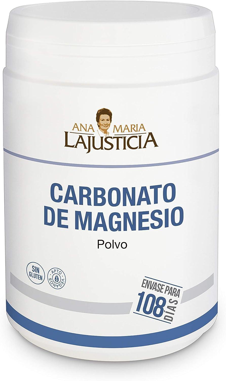 Ana Maria Lajusticia - Carbonato de magnesio – 130 gr. Disminuye el cansancio y la fatiga, mejora el funcionamiento del sistema nervioso. Apto para veganos. Envase para 108 días de tratamiento.