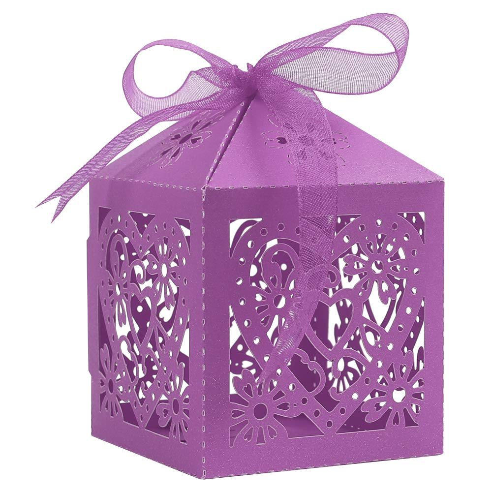 Lucky Monet 25//50//100PCS Love Heart Laser Cut Wedding Candy Gift Box Chocolate Box for Wedding Favor Birthday Party Bridal Shower with Ribbon 50pcs, Lavender