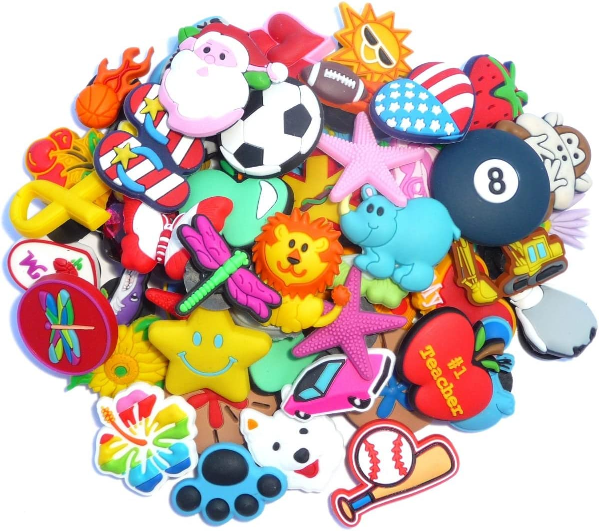 100 Pcs PVC Shoe Charms Fit Crocs & Bands Bracelet and Gifts 71rjJtZHB5L