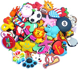 Lot of 100 Pcs PVC Different Shoe Charms for Wristbands and Shoes