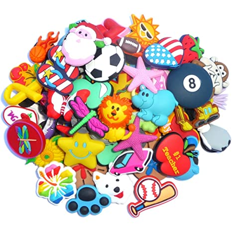 aa05b2b7af0c2 Image Unavailable. Image not available for. Color  100 Pcs PVC Shoe Charms  Fit Crocs ...