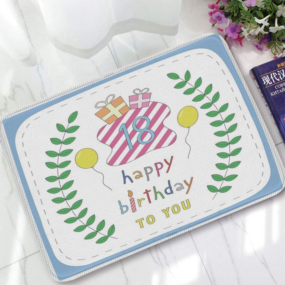 YOLIYANA Ultra-Soft Mat,18th Birthday Decoration,for Kitchen Living Room,15.75''x23.62'',Baby Blue Backdrop with Branches Balloons