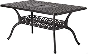 """CW Chair Patio Dining Table 36"""" x 60"""" Rectangular Cast Aluminum Large Outdoor Metal Furniture, Powder-Coated Frame with 1.97"""" Umbrella Hole for Lawn Garden Backyard, Dark Brown"""