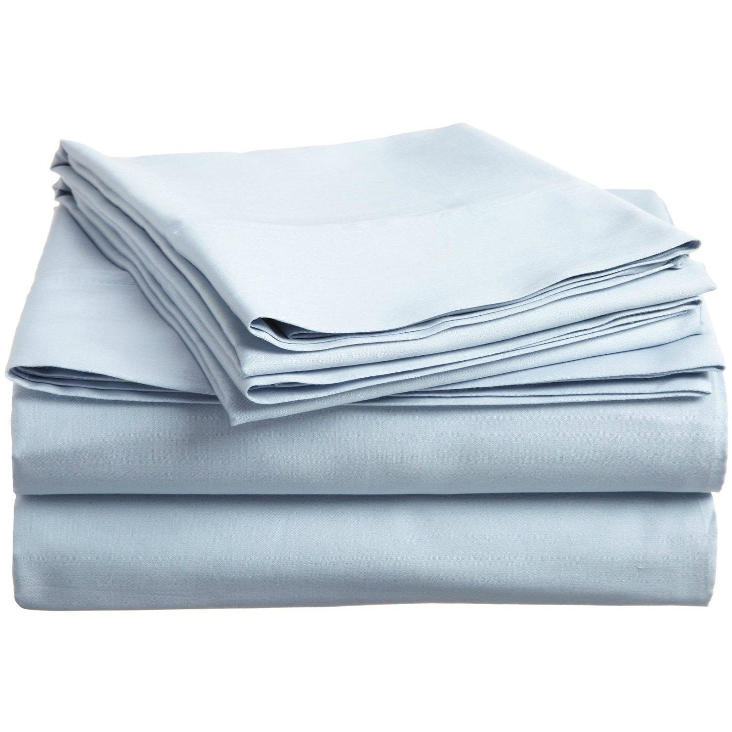 4 Piece King Light Blue Bed Sheet Set, Ultra cozy, super soft, lightweight, durable, satiny smooth, Fully Elasticized, Sateen weave with 300 thread count, Sky Blue, Cotton