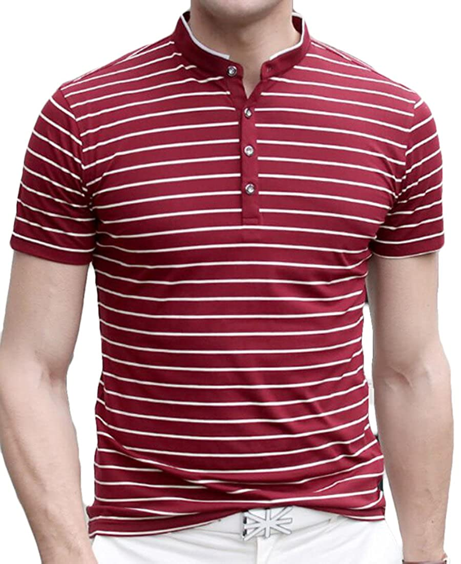 Yaolor-Men Henley T-Shirts Short Sleeve Crew Neck with Button Tops
