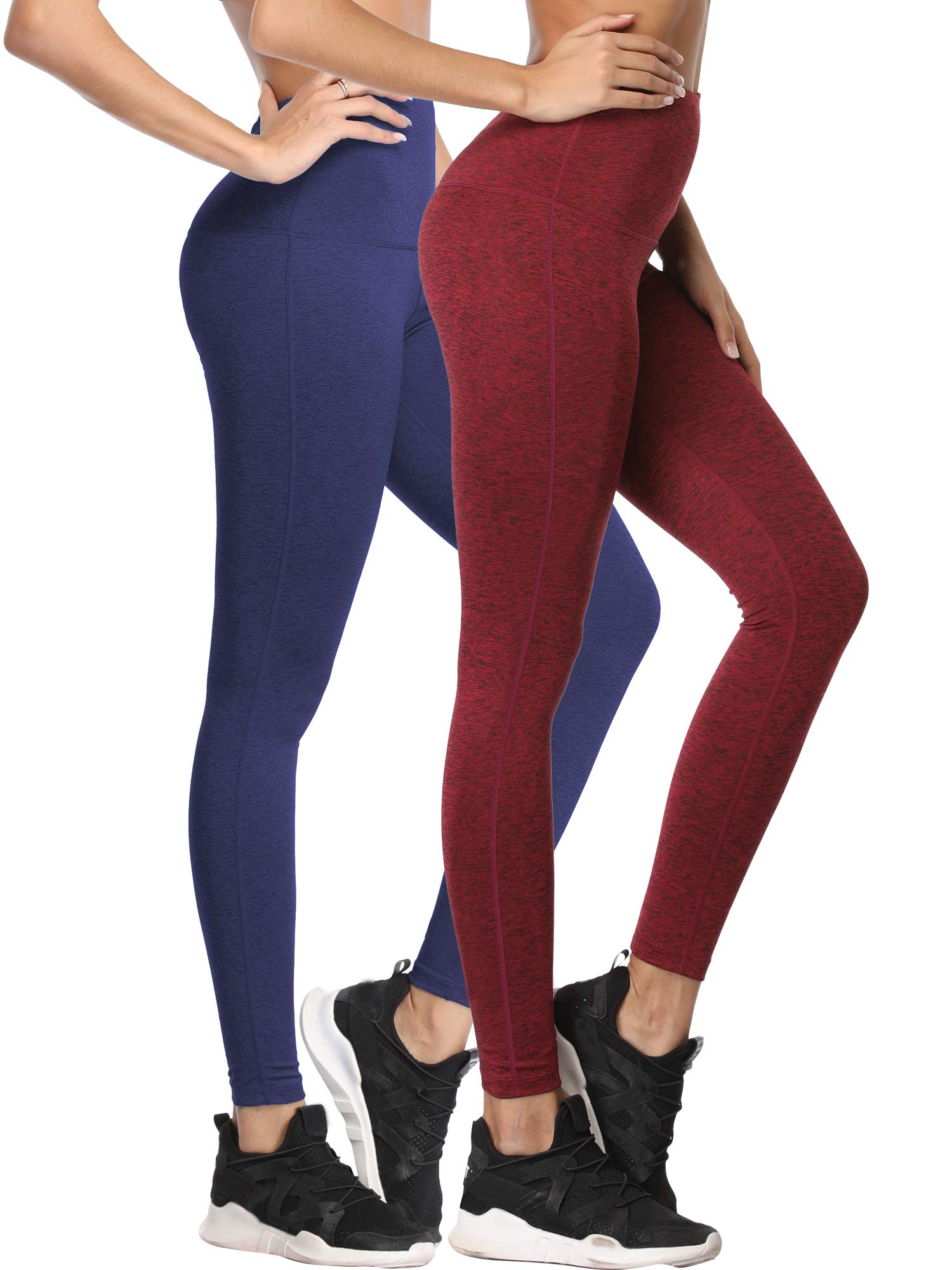 Cadmus Tummy Control Workout Leggings for Yoga Womens,1101,Navy Blue & Wine Red,Small
