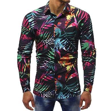 aa32dddba5f7a Blusa Impresa para Hombre de la Manera Camisas Ocasionales de Manga Larga  Slim Tops por Internet  Amazon.es  Ropa y accesorios
