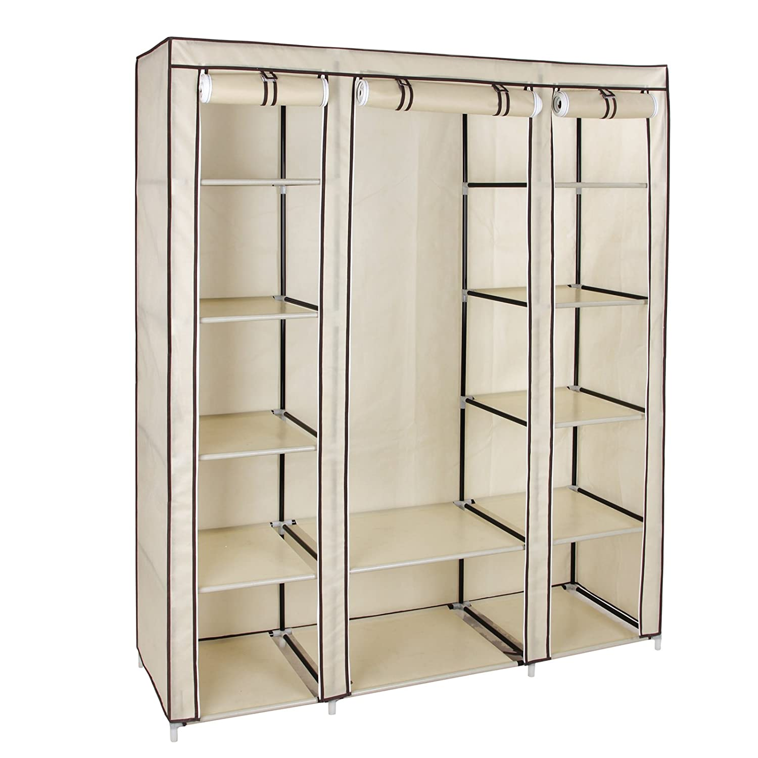 Bedroom furniture wardrobes - Songmics Non Woven Fabric Wardrobe Cupboard Bedroom Furniture Storage 150 X 45 X 175 Cm Beige Lsf03m Amazon Co Uk Kitchen Home
