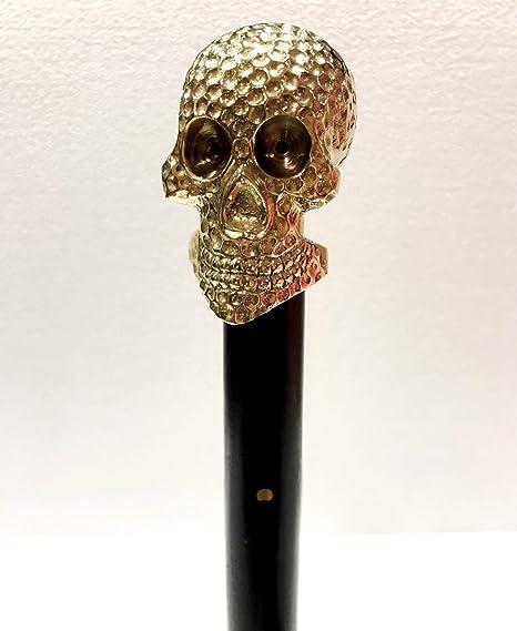 Vintage Solid Skull Handle Walking Stick Walking Cane Vintage Cane Designer Gift