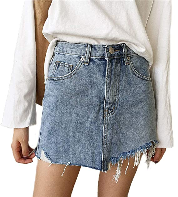 Falda Mujer Jeans Falda Mini Falda Sencilla Elástica Falda ...