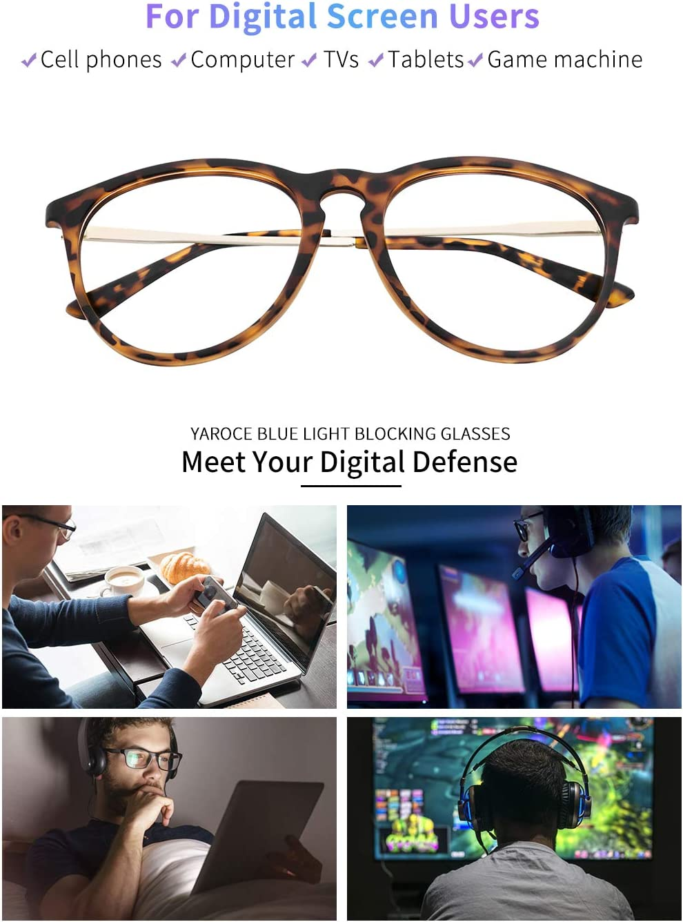 Yaroce Blue light glasses fit guide