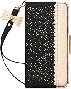 """WWW iPhone SE 2020 Wallet Case 4.7"""",iPhone 7 Wallet Case,iPhone 8 Wallet Case,[Romantic Carved Flower] Leather Case with [Card Holder] [Makeup Mirror] [Kickstand ] for Apple iPhone SE 2020/7/8 Black"""