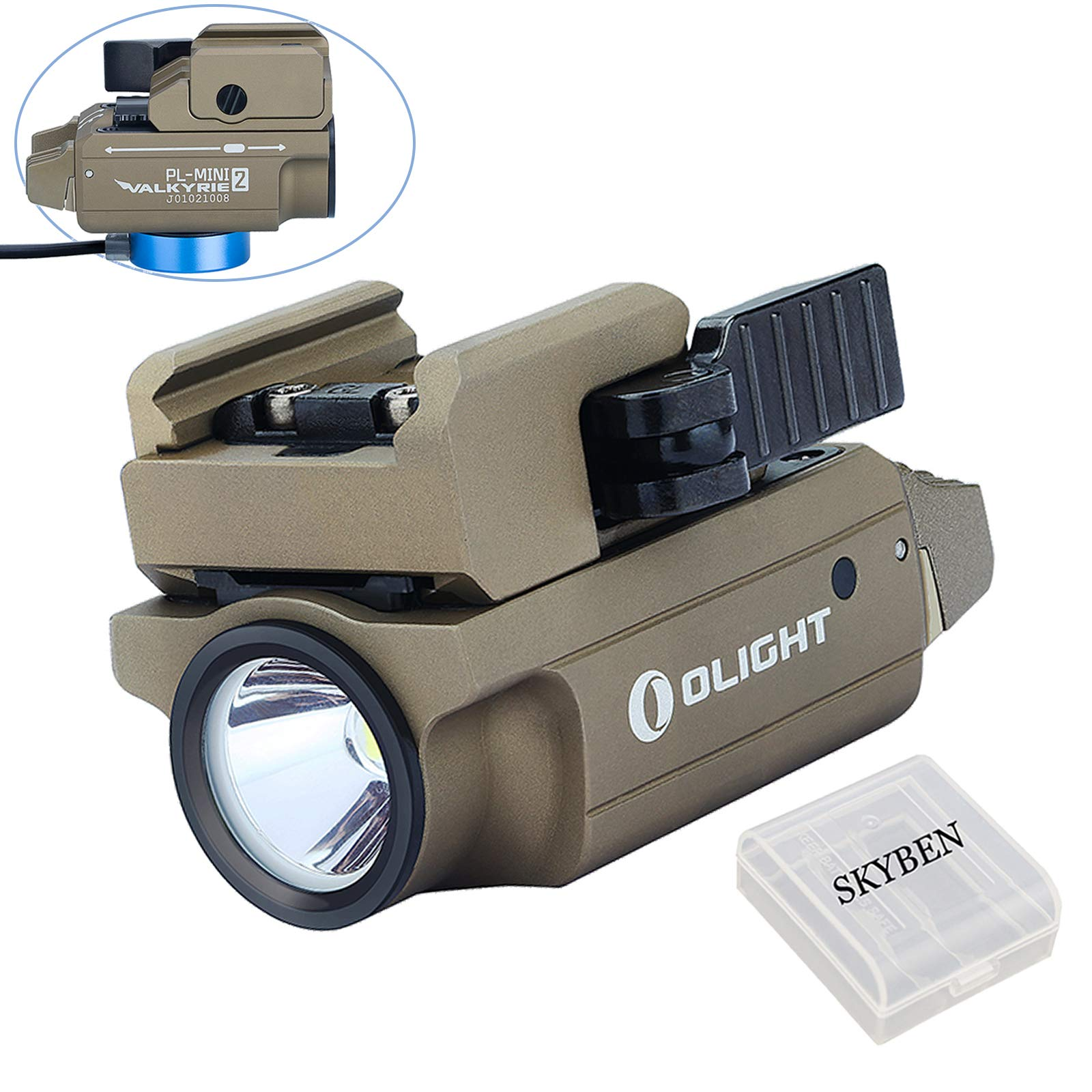 Olight PL-MINI 2 Valkyrie 600 Lumens Cree XP-L HD CW LED Modular Weaponlight Magnetic Rechargeable with Adjustable Rail,Powered by a Built-in Polymer Battery, with SKYBEN Battery Case(Desert Tan) by OLIGHT