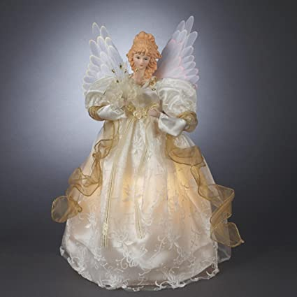 "14"" Gold/Ivory Lighted Fiber Optic Angel Christmas Tree Topper - Clear  Lights - Amazon.com: 14"