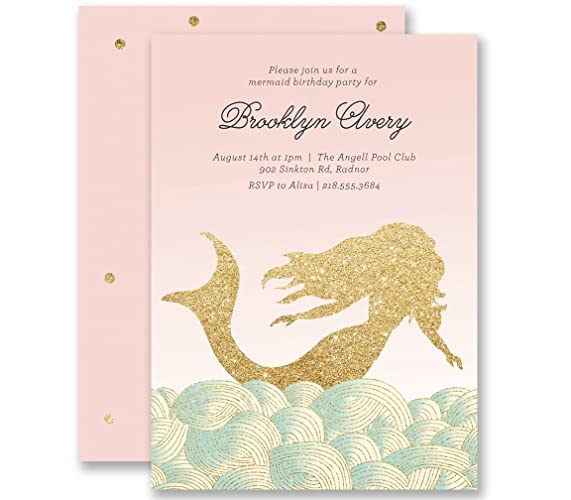 Mermaid Birthday Invitations 1st First Blush Pink Gold Glitter Look Personalized Boutique Invites With Envelopes