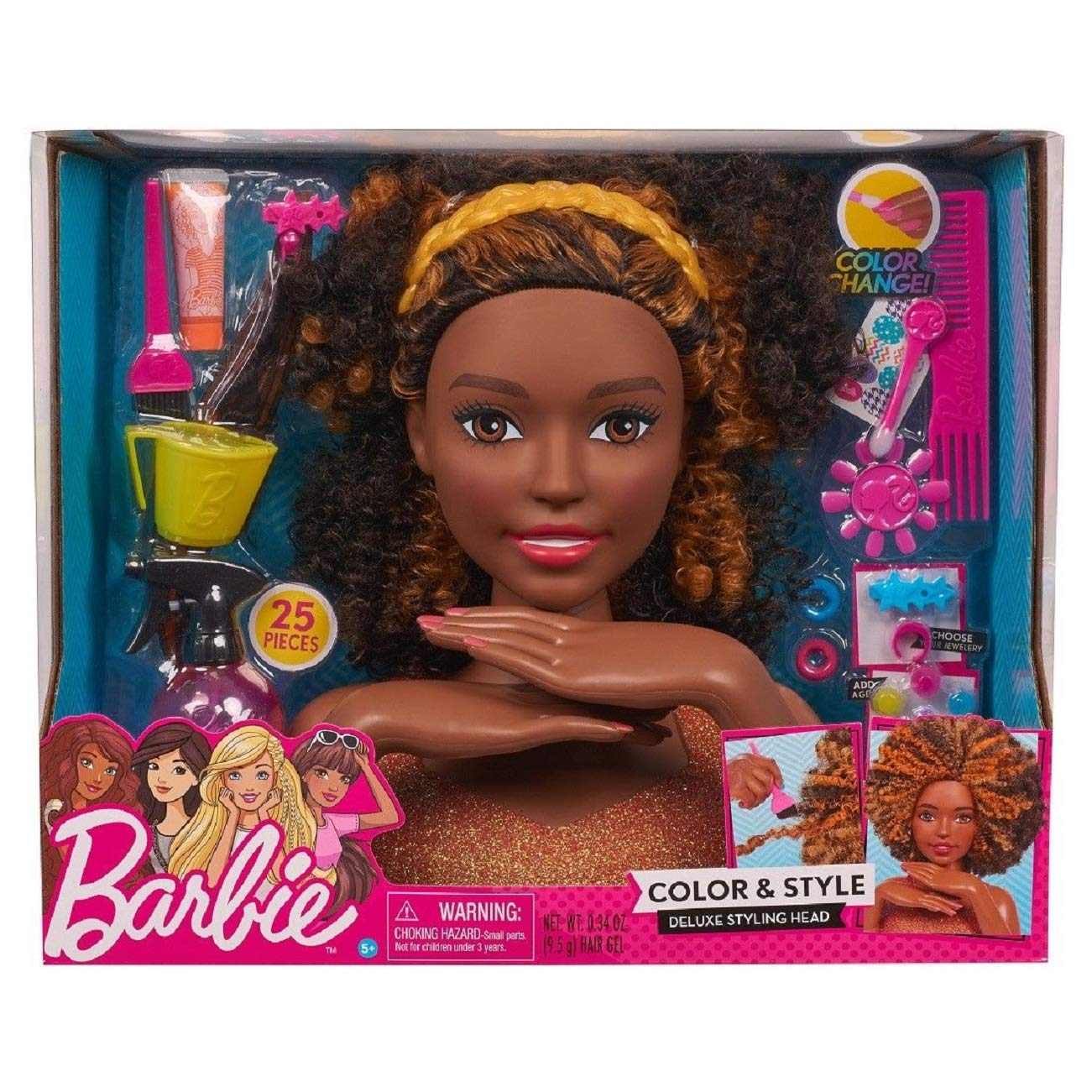 Barbie Deluxe Styling Head Color and Style Black Curly Hair