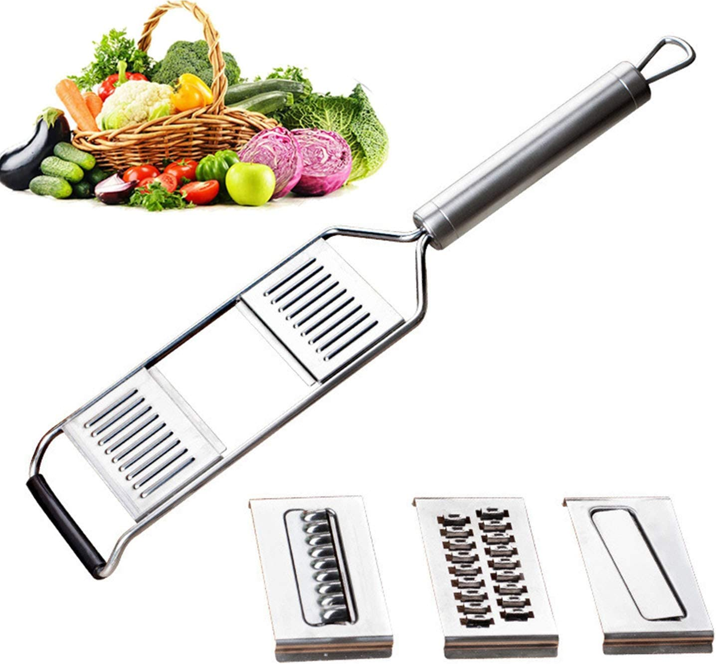 Multi-purpose Vegetable Slicer, Handheld Vegetable Slicer, 3-in-1 Manual Stainless Steel Flat Grater, Perfect for Salad Zucchini Carrots Onions and All Vegetable