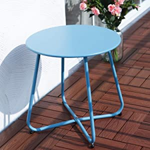 Grand patio Round Metal Side/End Table, Steel Patio Coffee Table for Bistro, Porch, Weather Resistant Outside Table Small (Blue)