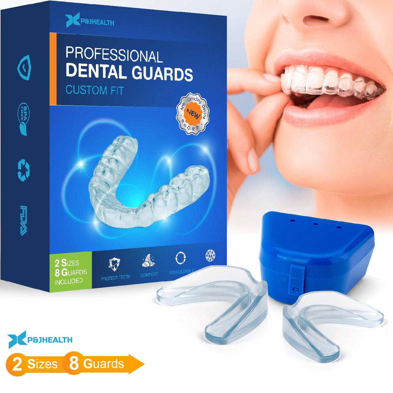 P & J Health Professional Thin Fit Dental Guard - Pack of 8 - Anti Grinding Dental Night Guard, Stops Bruxism, Tmj & Eliminates