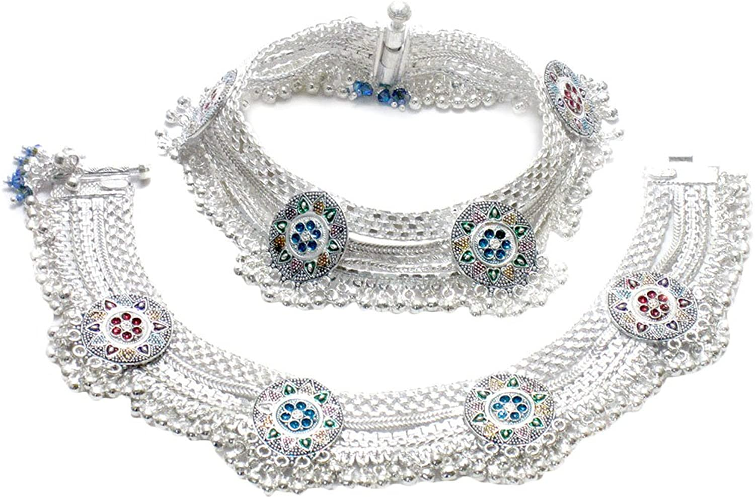 Buy Gupta Payals Fancy Silver Anklets For Women (GPGU01) (Pack of ...